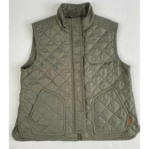 $348 Women's COACH Quilted Hacking Vest Green Trim